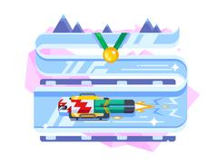 Skeleton winter sports Stock Illustration