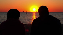Couple Looking at Sunset. St Kilda, Melbourne. Stock Footage