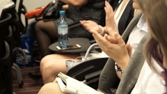 Close-up of clapping hands of impressed people attending an impressing event Stock Footage