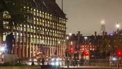 Night view time-lapse at the Big Ben Westminster and the Parliament Square Stock Footage