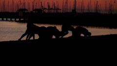 People Exercising on St. Kilda beach. Slow Motion. Sunset Stock Footage