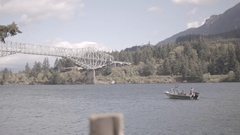 Tourist sitting in speed boat in Columbia river Stock Footage
