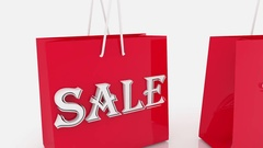 Shopping bags with inscription 75 percents Stock Footage