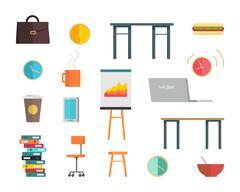 Interior Office Elements Set Stock Illustration