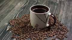 White coffee cup on background Stock Footage