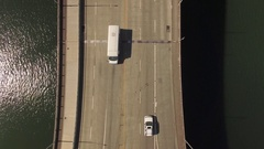 Aerial of vehicles moving on Hawthorne Bridge built over Willamette River Stock Footage