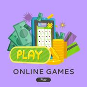 Online Games Web Banner Isolated with Play Button Stock Illustration