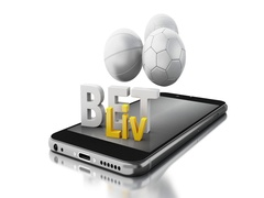 3d Smartphone with sport balls and bet live. Stock Footage