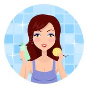 Girl Clean her Face with Lotion and Sponge Stock Illustration