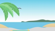 Cartoon Beach Scene(4k Resolution): Looping Stock Footage