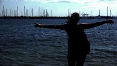 Girl Open Arms in Freedom, Melbourne, St Kilda Beach Stock Footage