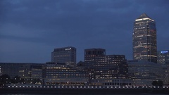 Beautiful Night View Financial Company Buildings Lighted in London Downtown.  Stock Footage