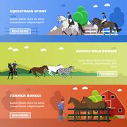 Vector set of equestrian sport, taming horses, farming concept banners Piirros