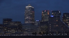 Canary Wharf Night Image London Financial Downtown European Business Center. Stock Footage