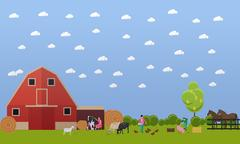 Farming men and women working on farmyard, vector illustration Piirros