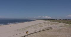 Dune landscape and new shoreline at the heavily reinforced Dutch coast Stock Footage