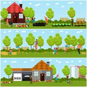 Vector set of gardening and harvesting concept banners, flat style Stock Illustration