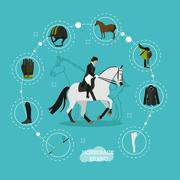 Horseback riding woman and equestrian equipment infographic items, vector Stock Illustration