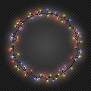 Christmas and New year realistic light garlands like frame on a transparent Stock Illustration