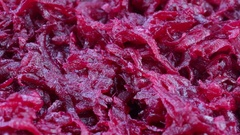 Healthy homemade salad of boiled beetroot ready to eat. Rotates boiled red beet Stock Footage