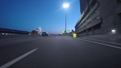 Big Sky Interstate Clock Tower Magic Hour Stock Footage