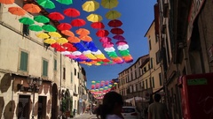 Colourful urban decoration Stock Footage