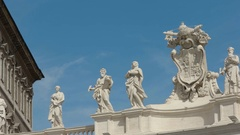 Pan of statues in st peter's square vatican city, rome Stock Footage