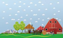 Horse farm, stable, horses and stablemen, equitation, vector illustration Stock Illustration