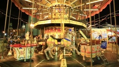 Festive merry-go-round whirling and sparkling lights near at Red Square Stock Footage