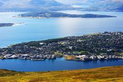 View on Tromso city from mountains background Stock Photos