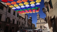 Colourful street decoration Stock Footage