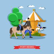 Little girl riding pony with instructor in amusement park, vector Stock Illustration