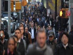 Crowd of people walking crossing street in New York City timelapse fast Stock Footage