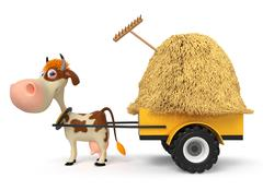 3d illustration the cow is lucky the cart with hay Stock Illustration