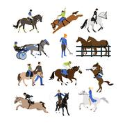 Vector set of riding characters icons isolated on white background Piirros