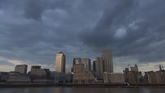Canary Wharf Landscape Financial Center and Thames River in Summer Afternoon. Stock Footage