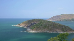 Small island near Phromthep Cape is located in north of Phuket island Stock Footage