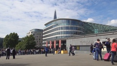 Peoples in London Downtown Square Waiting to Buy Tickets for Visiting Museum. Stock Footage