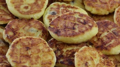 Rotation healthy homemade cheese pancakes Stock Footage