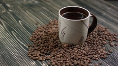 Composition with white cup of coffee Stock Footage