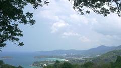Aerial view to the Kata and Karon beaches at Phuket island Stock Footage