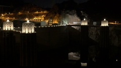 Amazing Hoover Dam at night Stock Footage