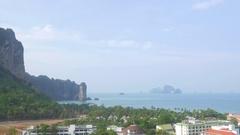 Beautiful aerial view of Ao Nang city and Andaman sea Stock Footage