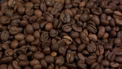 Close-up of coffee beans background Stock Footage
