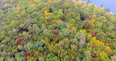 Lake Pond Flyover IV, Fast Flying above Mist Line, Fall Autumn, Aerial Stock Footage