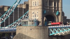 Tower Bridge View with Red Bus Traffic and Beautiful Construction Architecture. Stock Footage