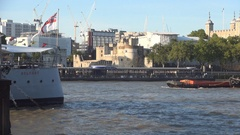 London City Center View with River Ship Freight at Work Sailing on Thames River. Stock Footage