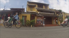 Hoi An Vietnam Cycle rickshaws transport tourists around the town. Stock Footage