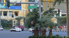 Busy traffic intersection on Las Vegas boulevard Stock Footage