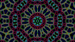Dark Colorful Neon Ornate Psychedelic Kaleidoscope Motion Background Loop 2 Stock Footage